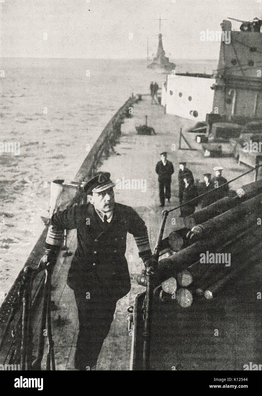 Admiral Jellicoe climbing steps to the bridge of his flagship, WW1 - Stock Image