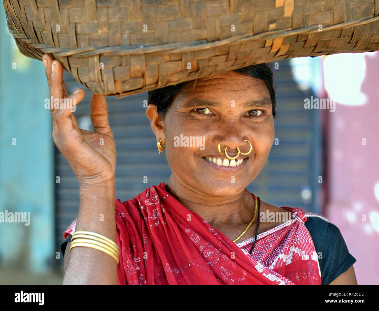Mature Indian Adivasi woman (Dongria Kondh tribe) with three golden nose rings and golden tribal earrings, balancing - Stock Image