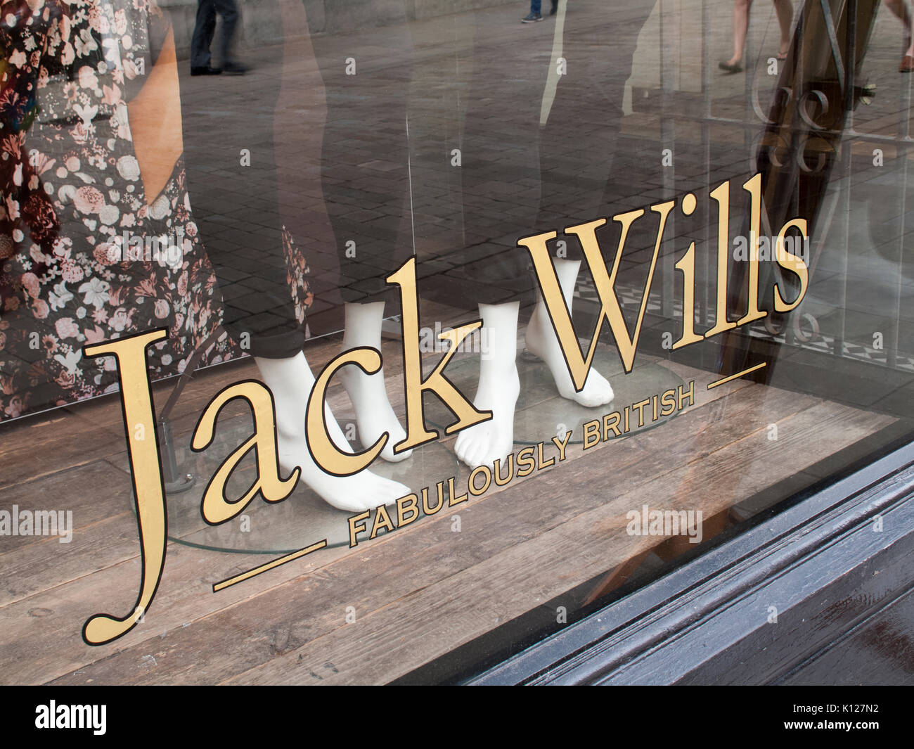 Jack Wills Fabulously British window display, company founded by Peter Williams and Robert Shaw in 1999 - Stock Image