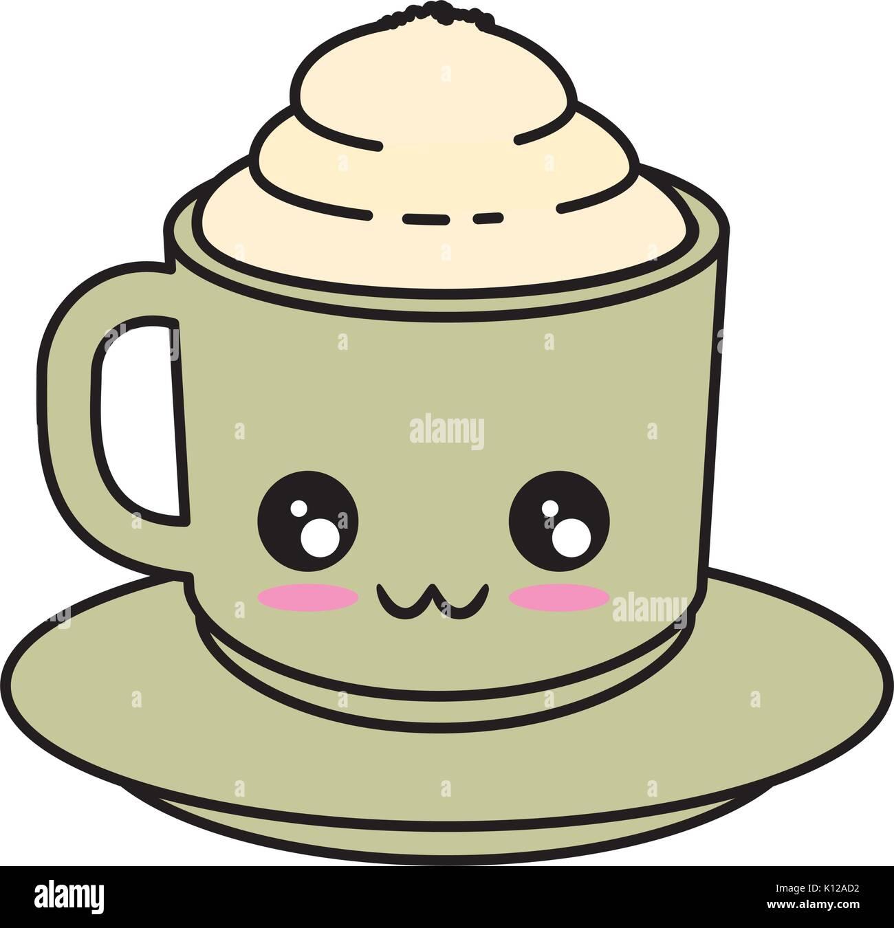 Delicious Coffee Mug Kawaii Cute Cartoon Vector Ilustration Stock Vector Image Art Alamy