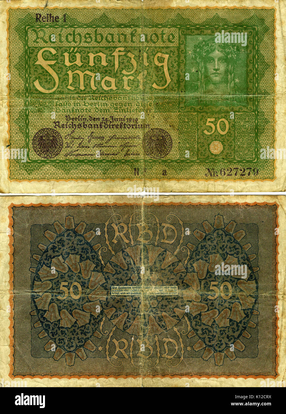 Banknote from the German Reich (Weimar Republic) 50 Mark 1919 - Stock Image