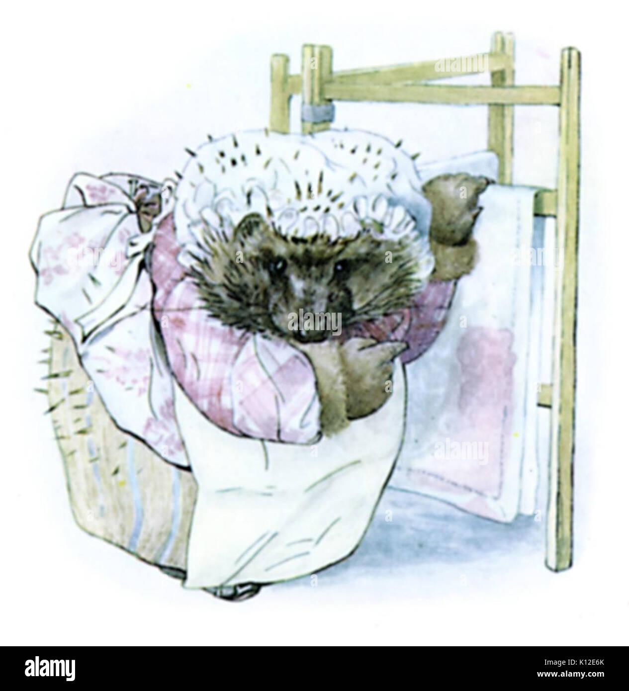 Beatrix Potter, Mrs Tiggy Winkle, Clothes horse - Stock Image