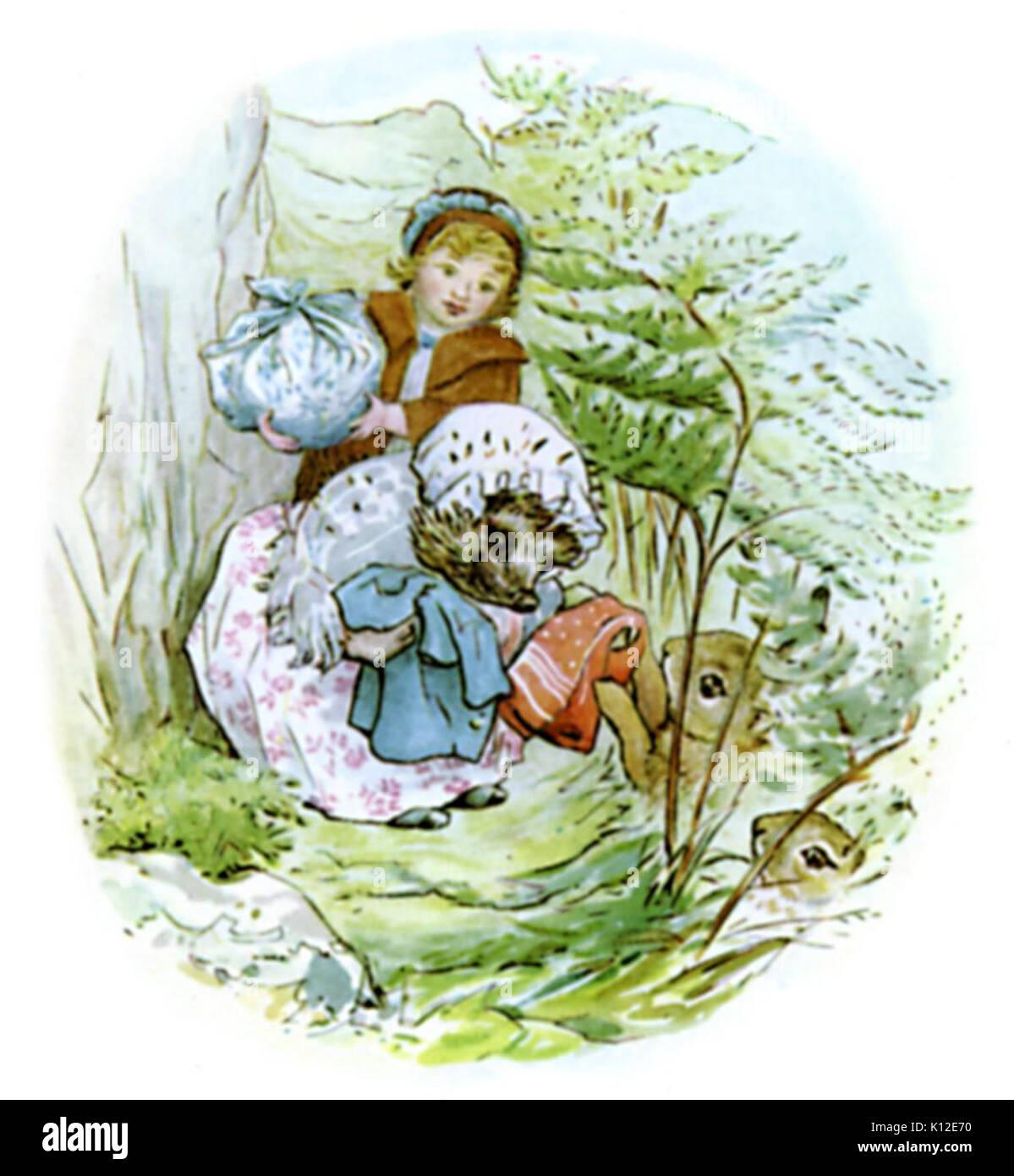 Beatrix Potter, Mrs Tiggy Winkle, Peter Rabbit - Stock Image