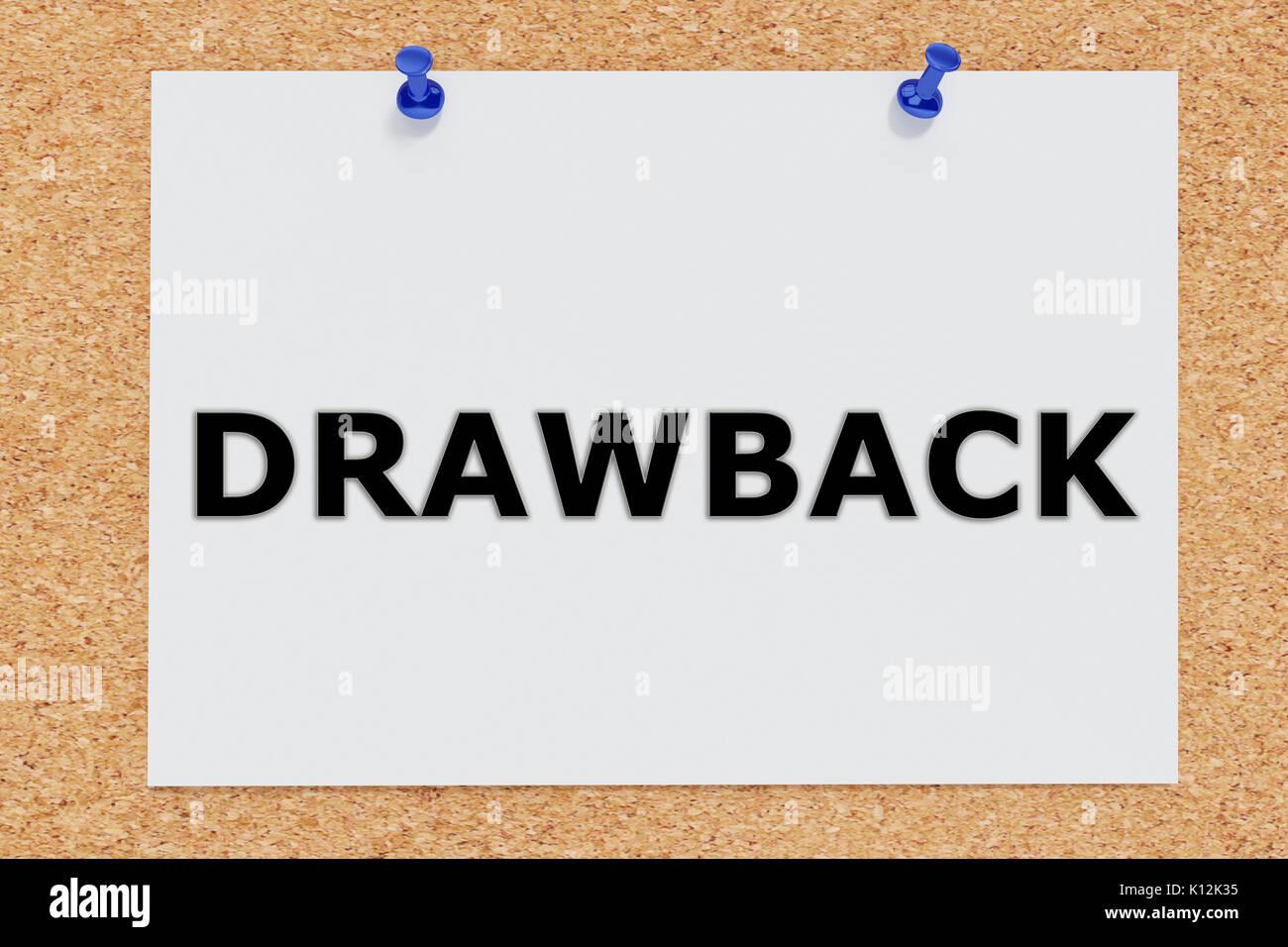 "3D illustration of ""DRAWBACK"" on cork board Stock Photo - Alamy"