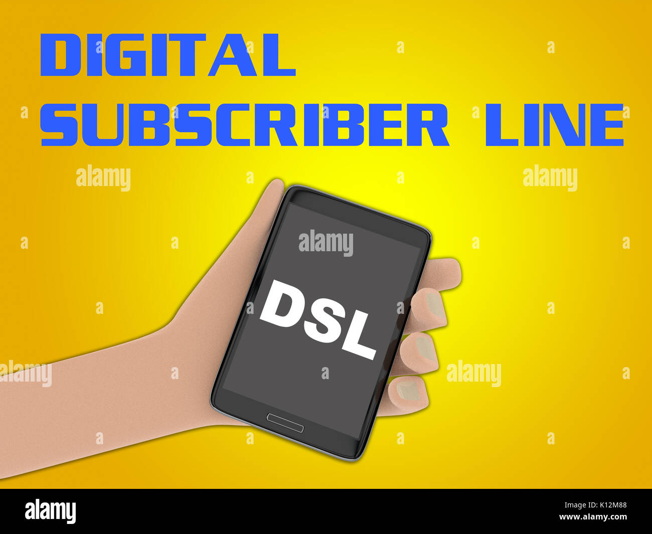 3D illustration of 'DSL' script on the screen of a cellulr phone held by hand, isolated on yellow gradient, with the script 'DIGITAL SUBSCRIBER LINE'  - Stock Image