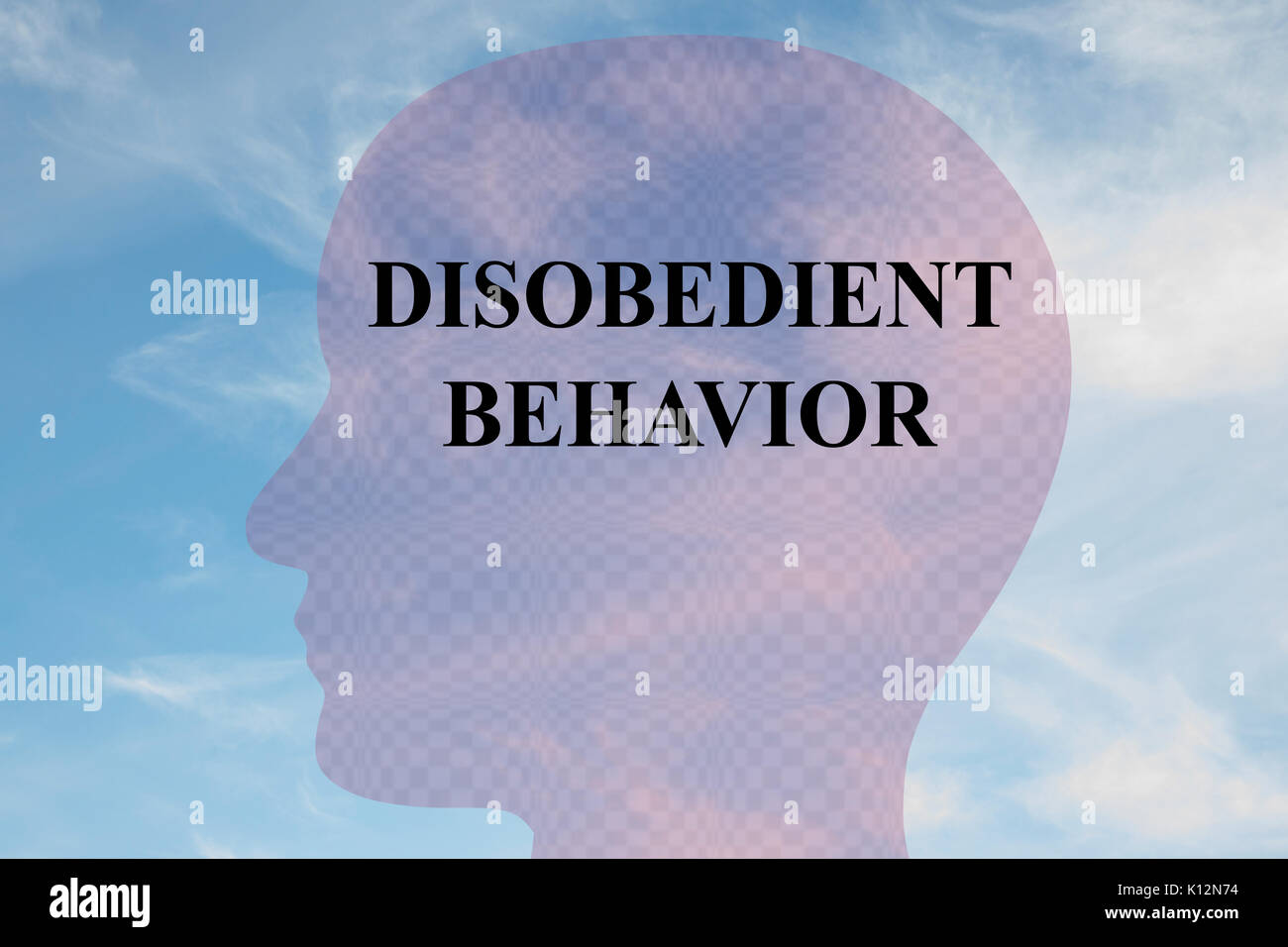 Render illustration of 'DISOBEDIENT BEHAVIOR' title on head silhouette, with cloudy sky as a background. - Stock Image