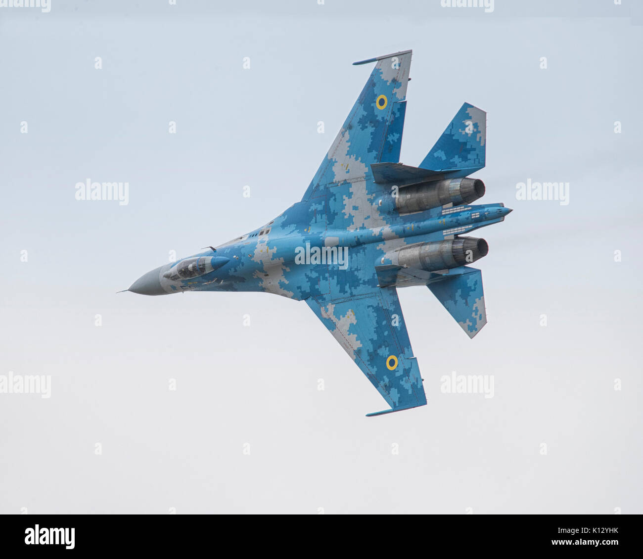 Ukranian Air Force Su-27 Flanker demonstration jet fighter flying at the 2017 Royal International Air Tattoo - Stock Image