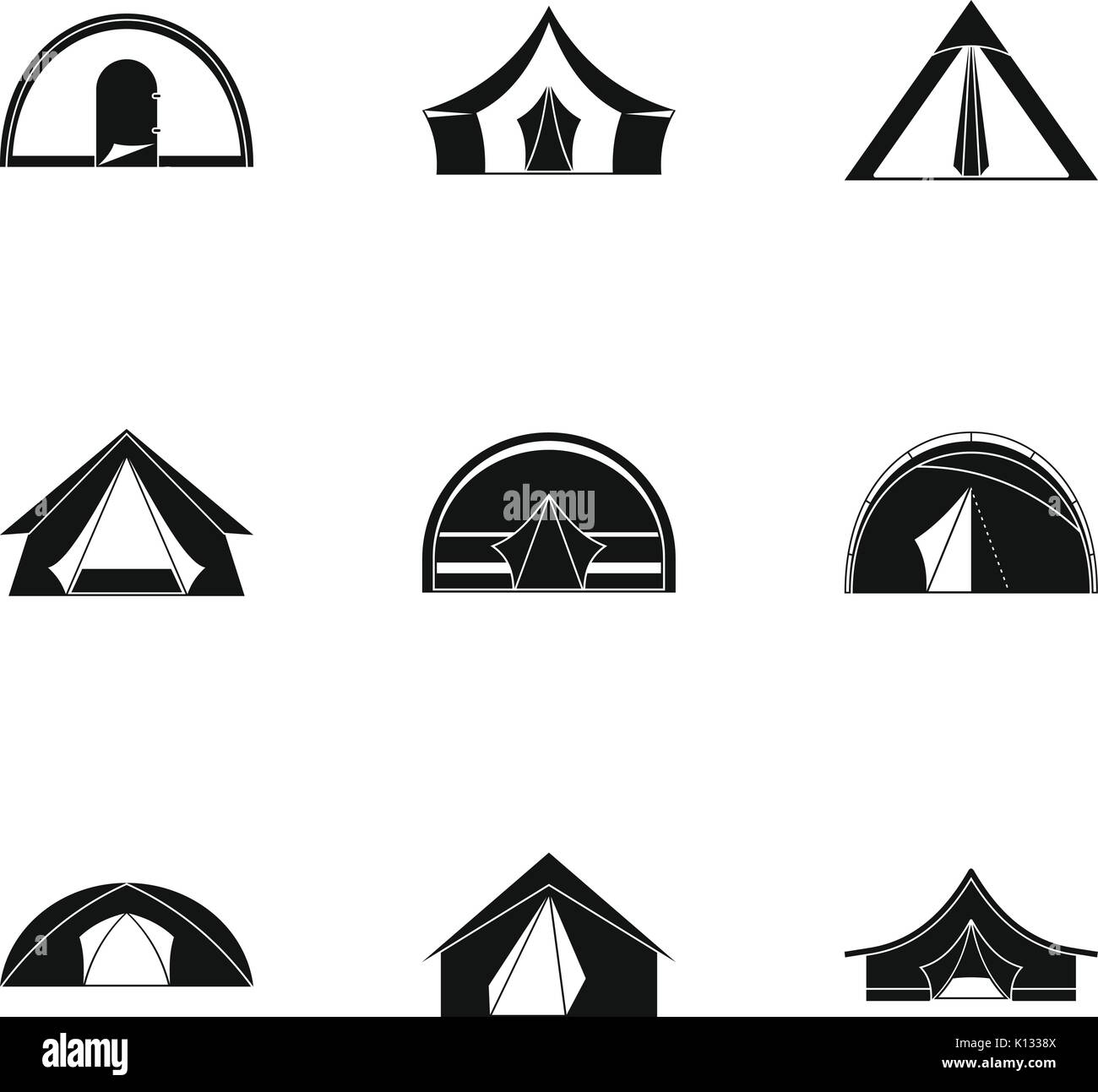 Tourist tent form icon set, simple style Stock Vector Art