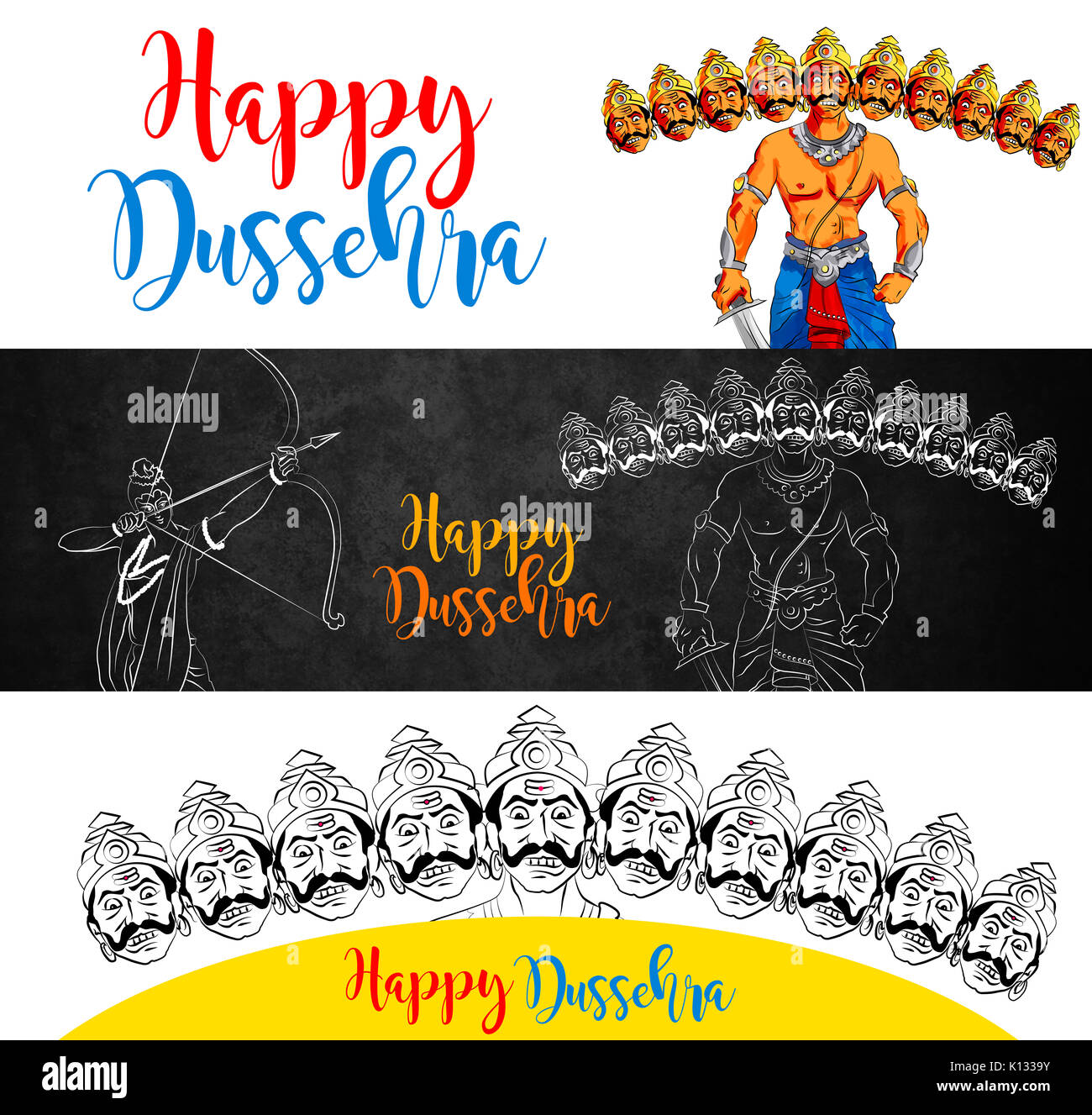 Antique Stock Illustration Of Happy Dussehra Greeting Card Happy