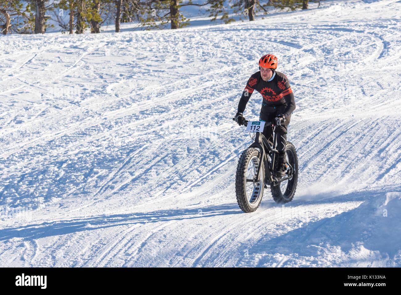 Fatbike, race, racing, snow, winter, arctic, Finnmark, Alta, Norway, Norge, konkurranse, sykling, vinter - Stock Image