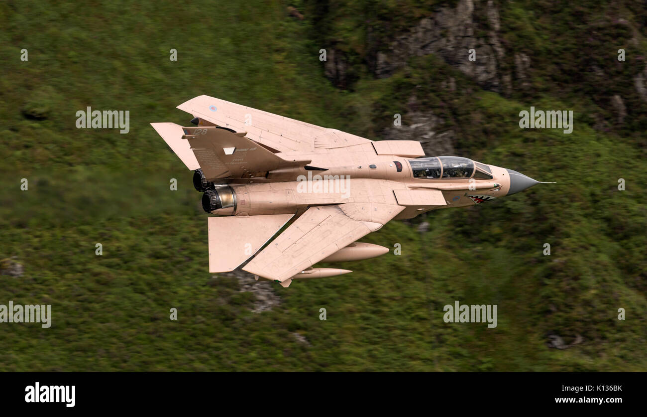 RAF Tornado GR4 on a low level flying sortie in the Mach Loop LFA7 in Operation Granby colour scheme. Hence the aircraft identified as 'Pinky'.  Schem - Stock Image