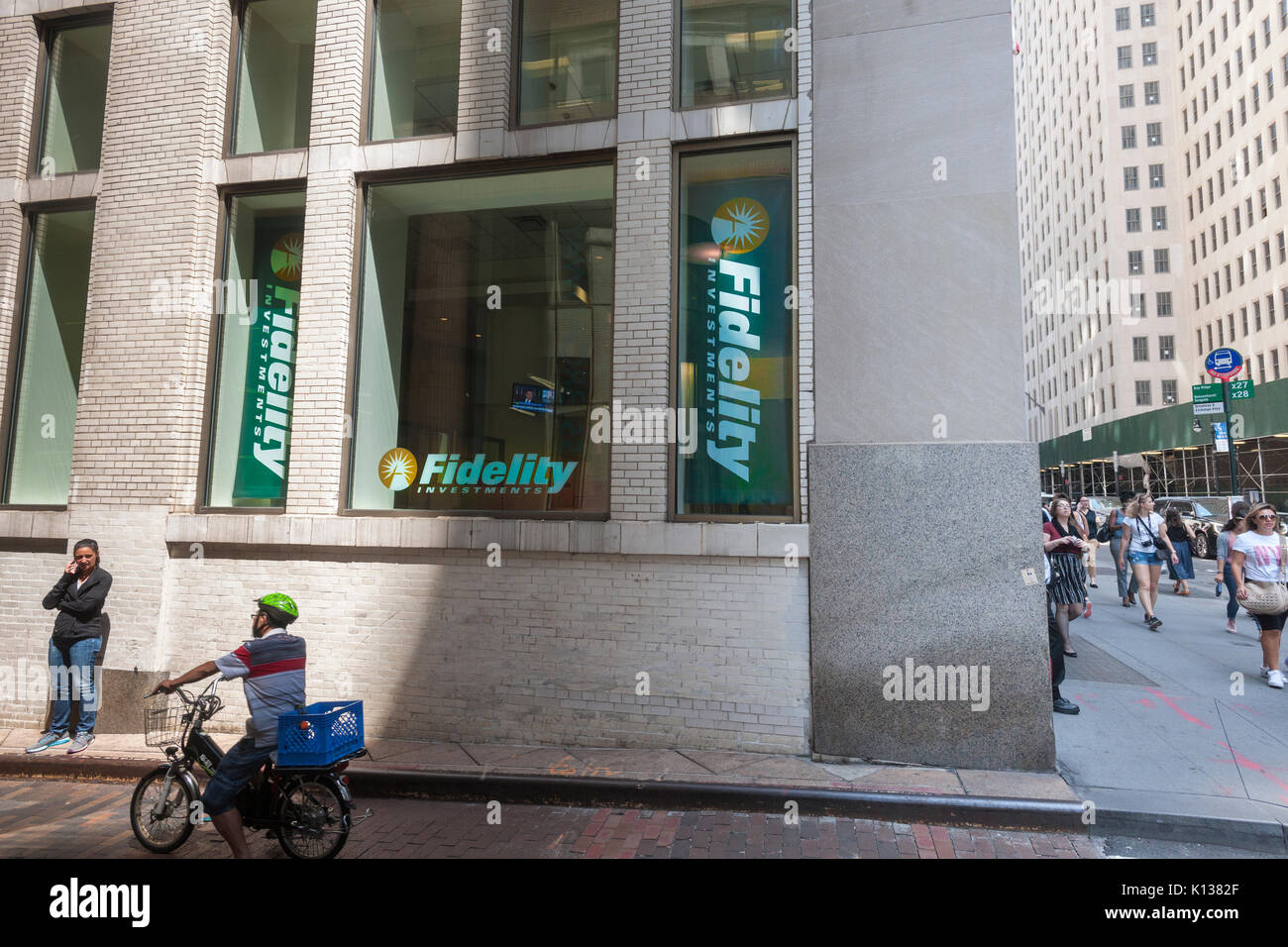 A branch office of Fidelity Investments in Lower Manhattan in New York on Thursday, August 17, 2017. Fidelity Investments is reported to have cut its holdings in Snap Inc. by over half between the period of April to June 2017 as Snap's share have spiraled downward. (© Richard B. Levine) - Stock Image
