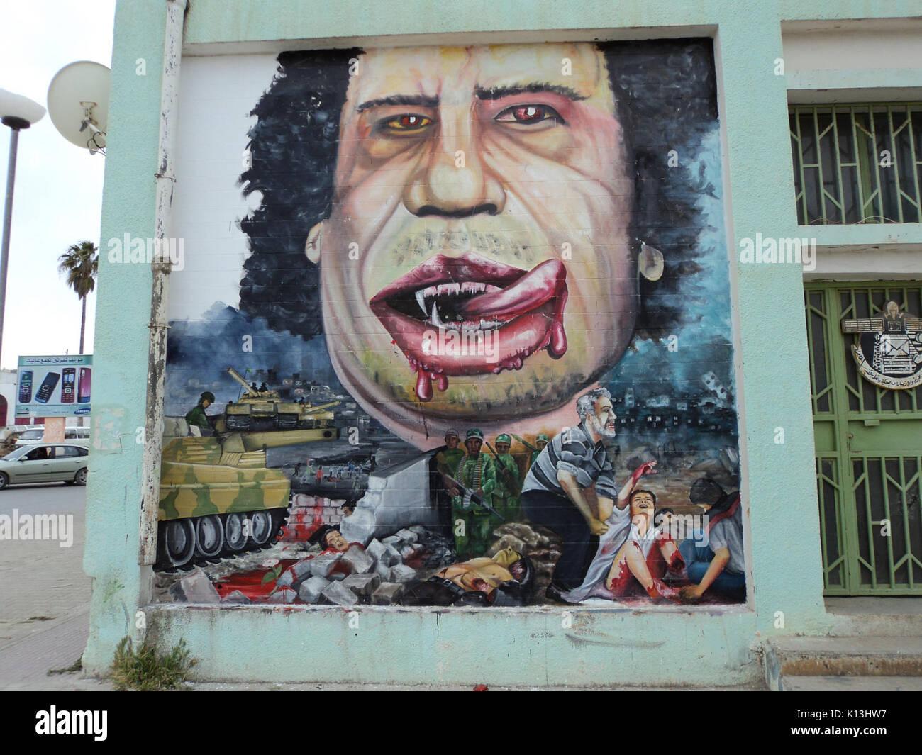 Al Bayda caricatures of Gadafi - Stock Image
