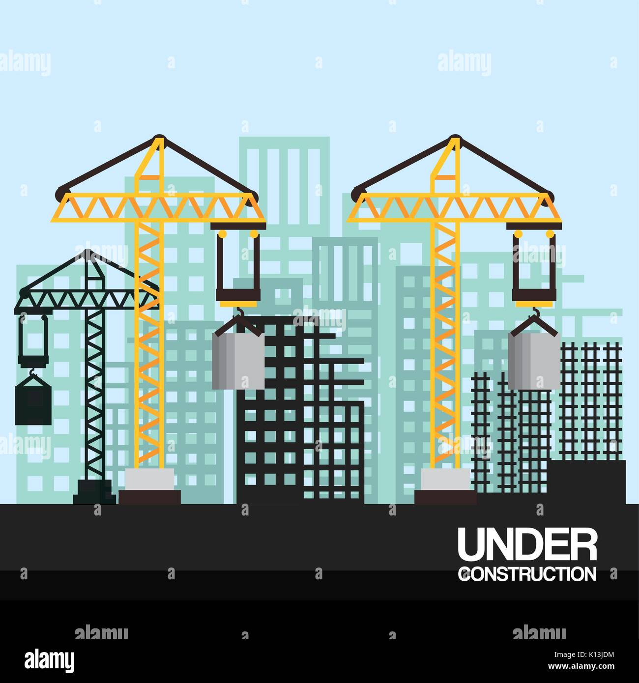 site with cranes and skyscraper under construction vector illustration - Stock Vector