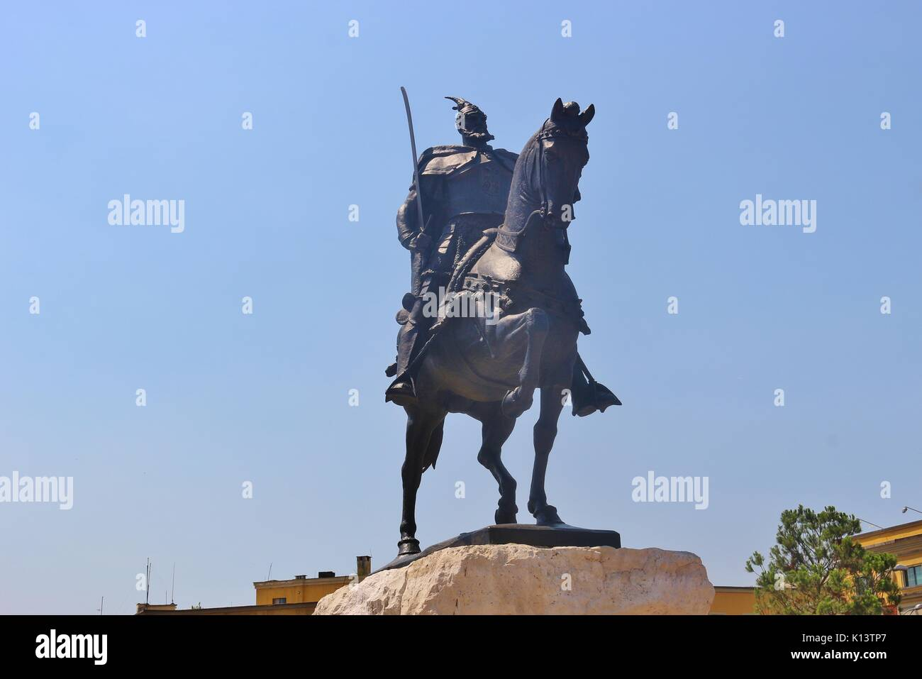 Statue of Skanderbeg or Gjergj Kastrioti who fought against the empire in the 15th century. Skanderbeg square in the center of Tirana, Albania, Europe. - Stock Image