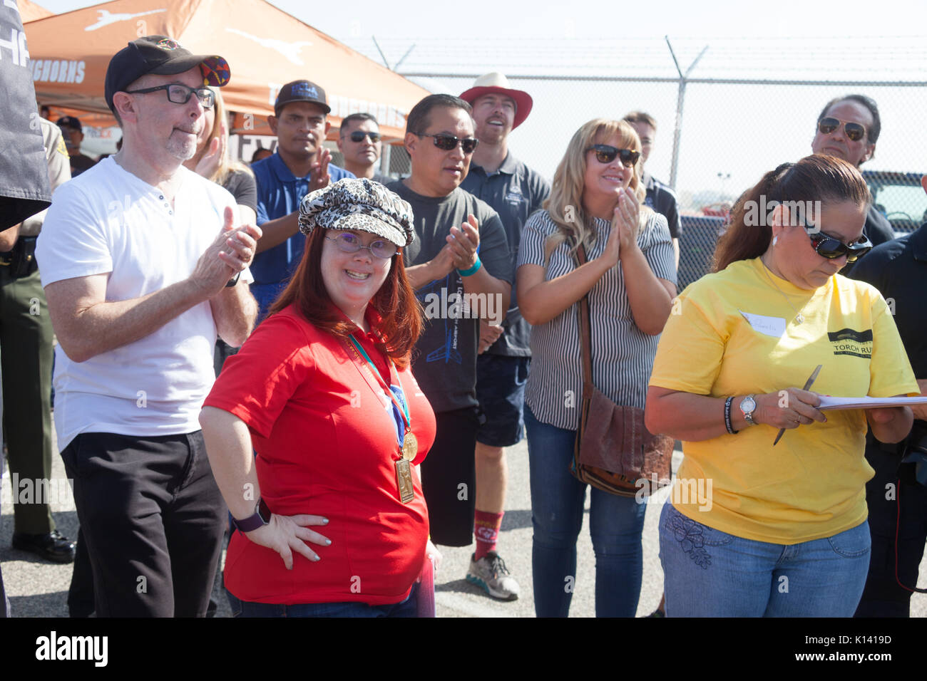 August 19, 2017 - Reality TV star, Rachel Osterbach (Born This Way), participates in the Special Olympics Southern California Plane Pull at the Long B - Stock Image