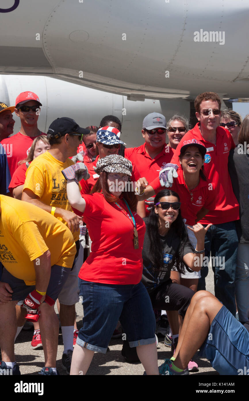 August 19, 2017 - Reality TV star, Rachel Osterbach (Born This Way), poses with other Special Olympics athletes at the Special Olympics Southern Calif - Stock Image