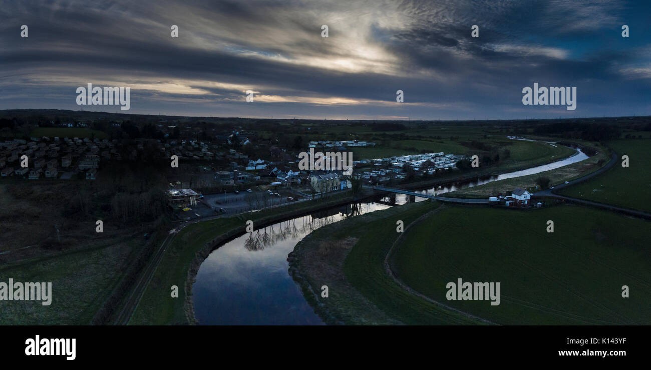 Drone view over the river wyre at little eccleston - Stock Image