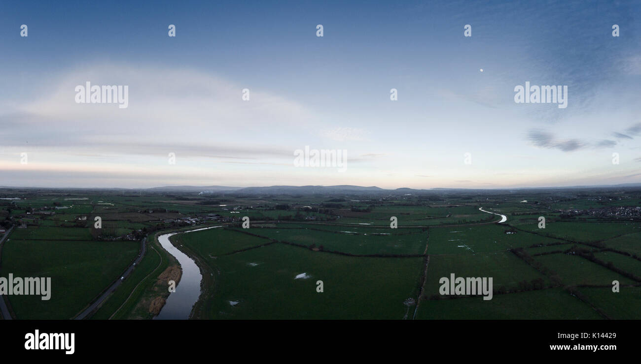Drone view over the river wyre at geat eccleston - Stock Image