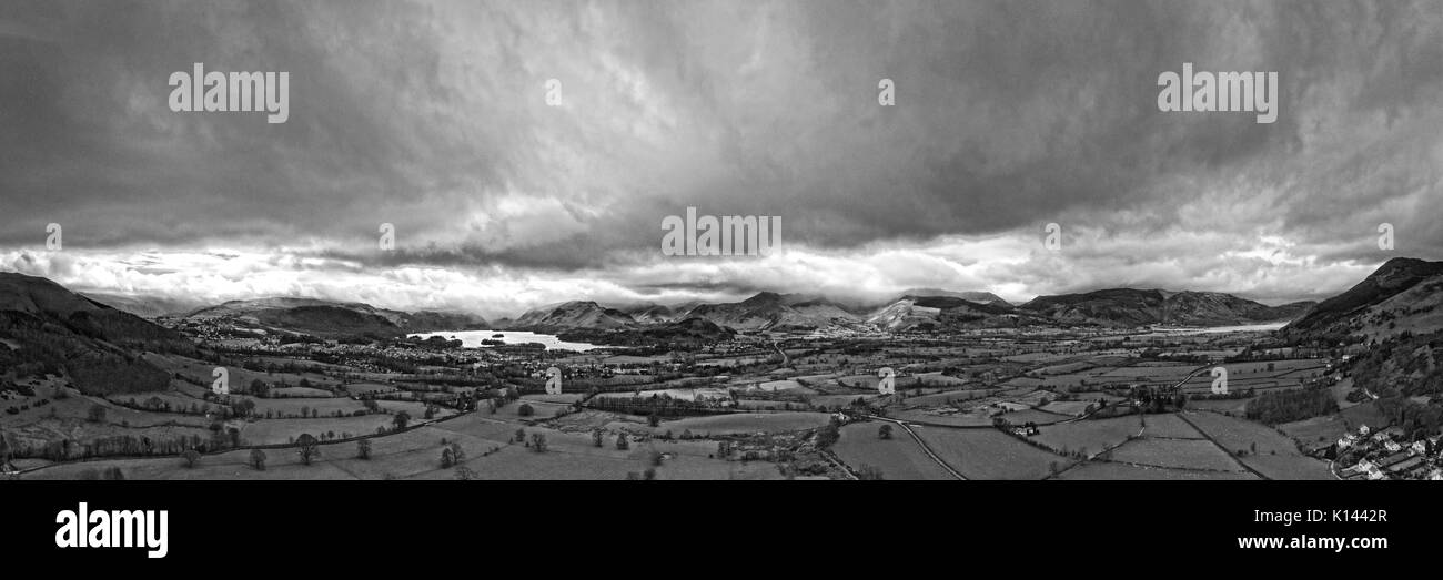 Aerial view of Derwentwater and Keswick by drone from Applethwaite - Stock Image