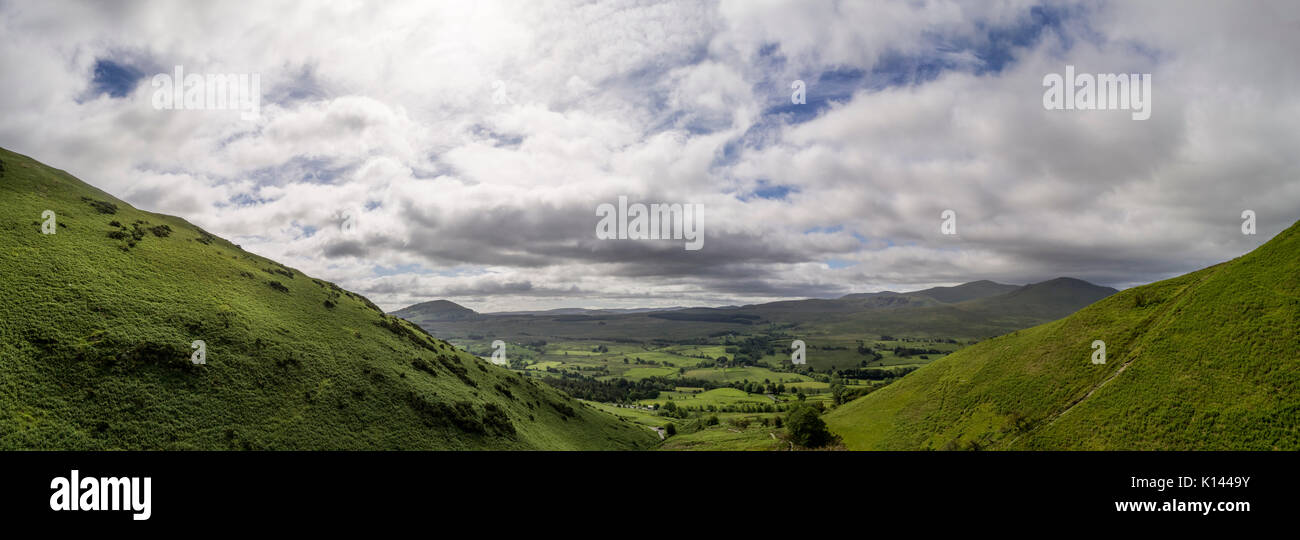 Looking south towards Helvellyn from Blencathra.  Aerial image by drone Stock Photo