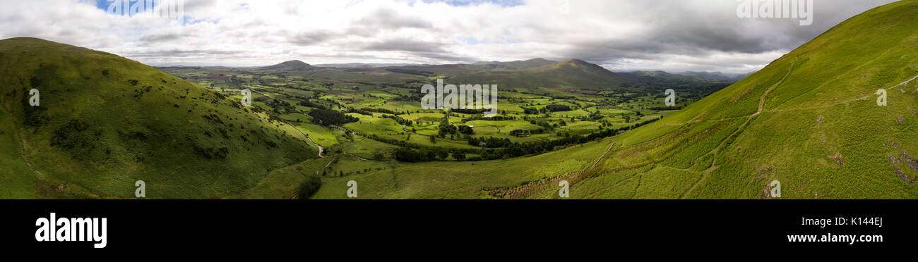 Looking south towards Helvellyn from Blencathra.  Aerial image by drone - Stock Image