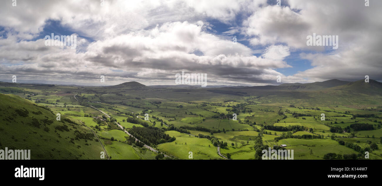 Aerial panorama of North East Lakes from Blencathra - Stock Image