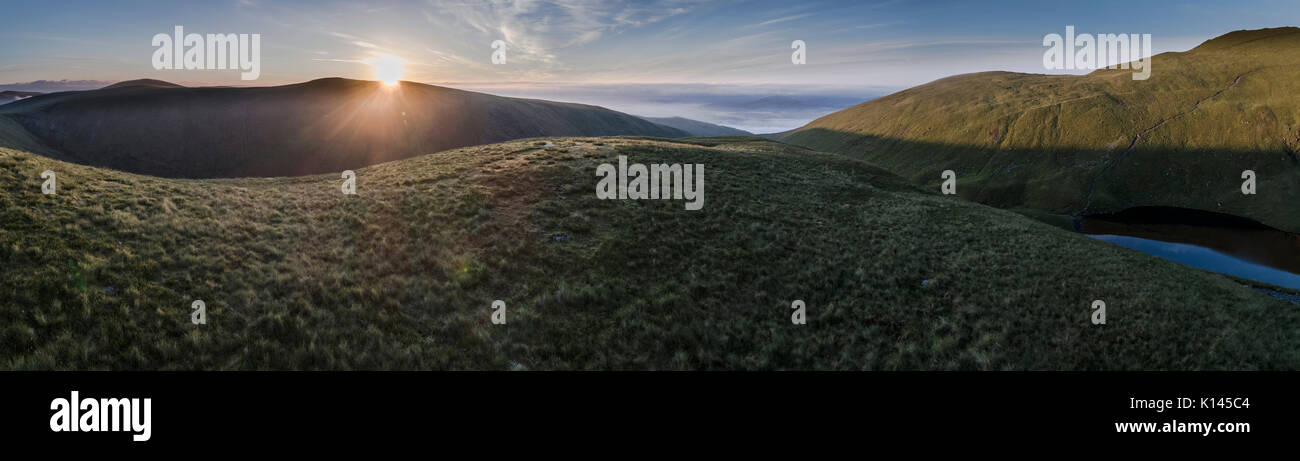 Sunrise over Blencathra, Aerial view by drone - Stock Image