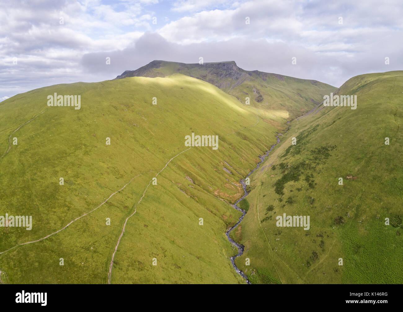 Looking West along the Glenderamakin Valley towards Sharp Edge on Blencathra Stock Photo