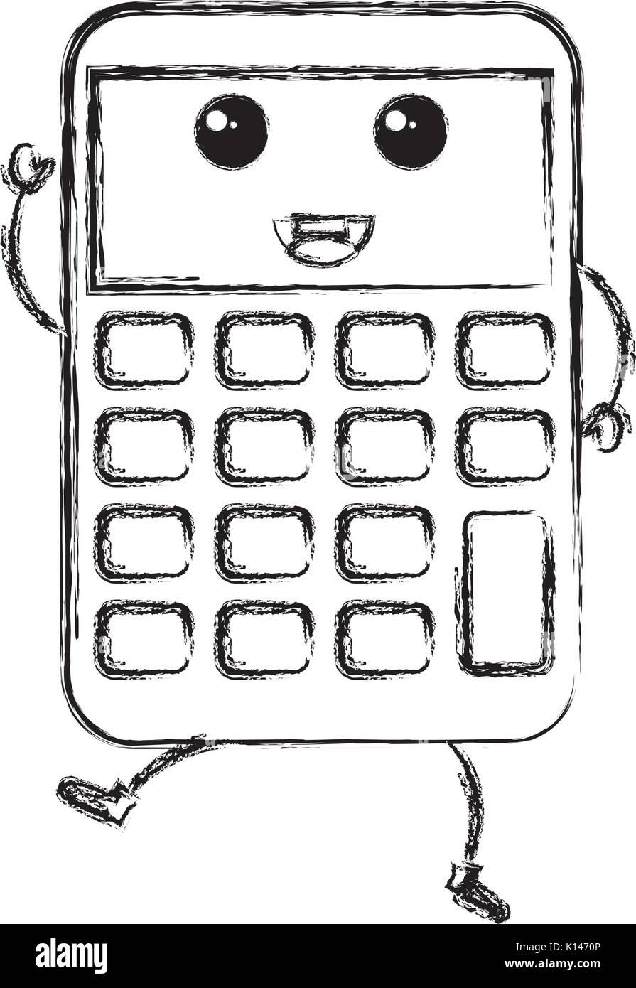 Calculator Math Character Kawaii Stock Photos Calculator Math