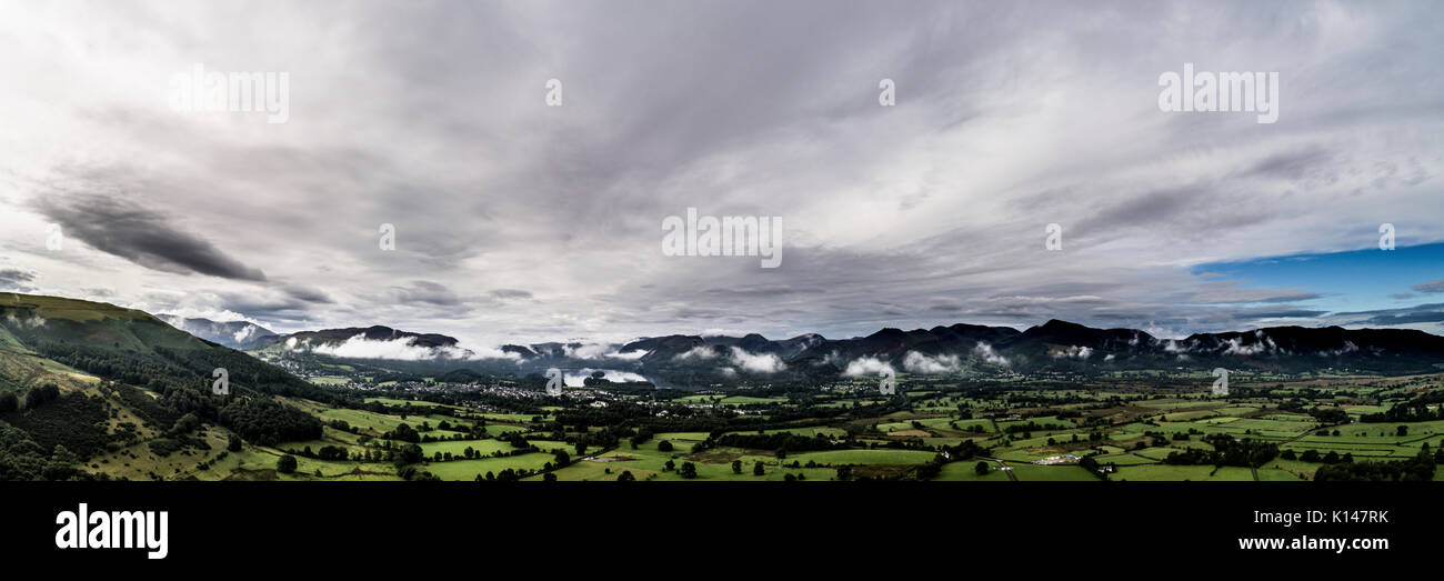 South towrds Keswick from Applethwaite by drone - Stock Image