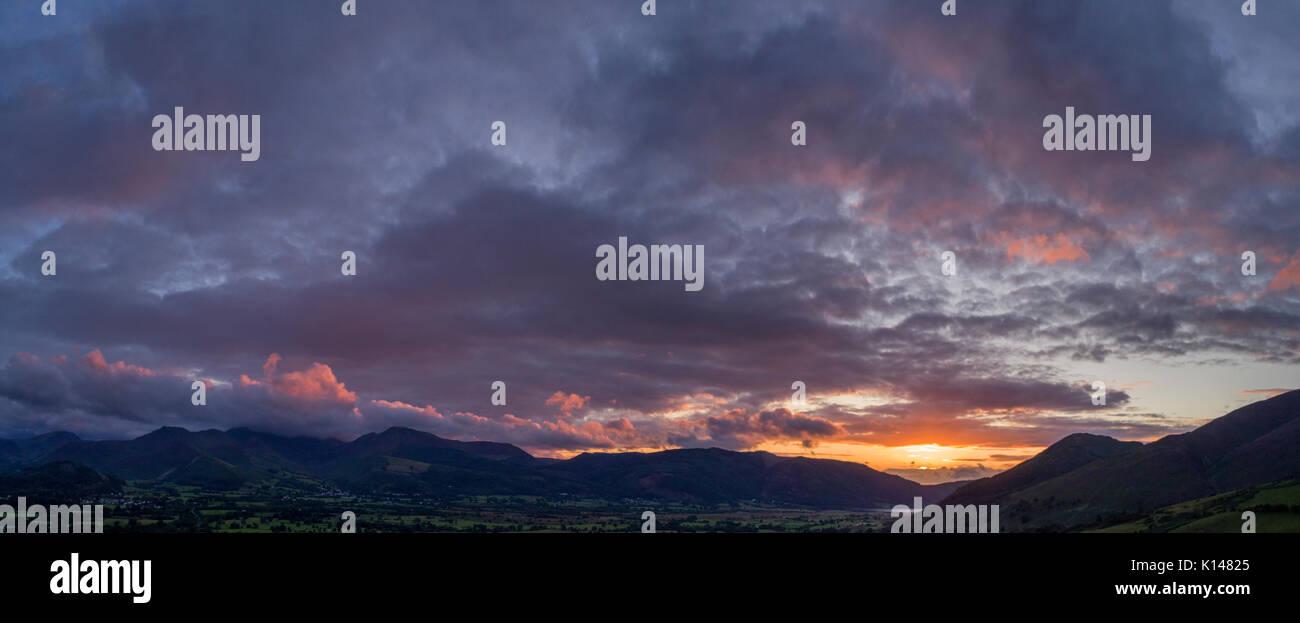 Sunsetting over Bassenthwaite, taken by drone from Applethwaite, Cumbria, UK - Stock Image