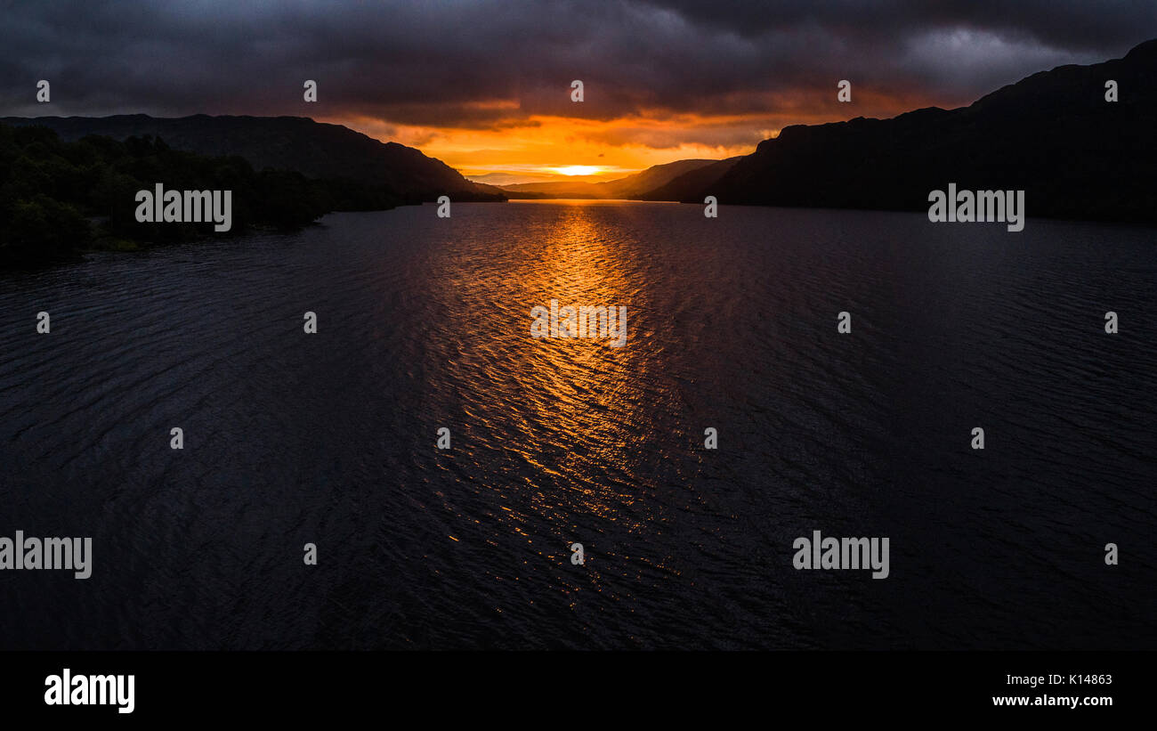 Sunrise over Ullswater, northern lake district - Stock Image