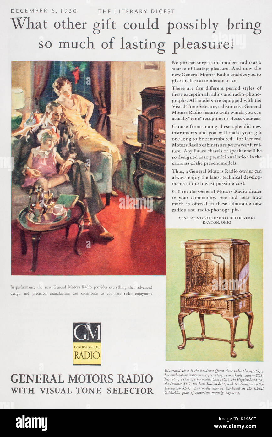 1930's magazine print advertisement describing General Motors Radio sets for sale. - Stock Image