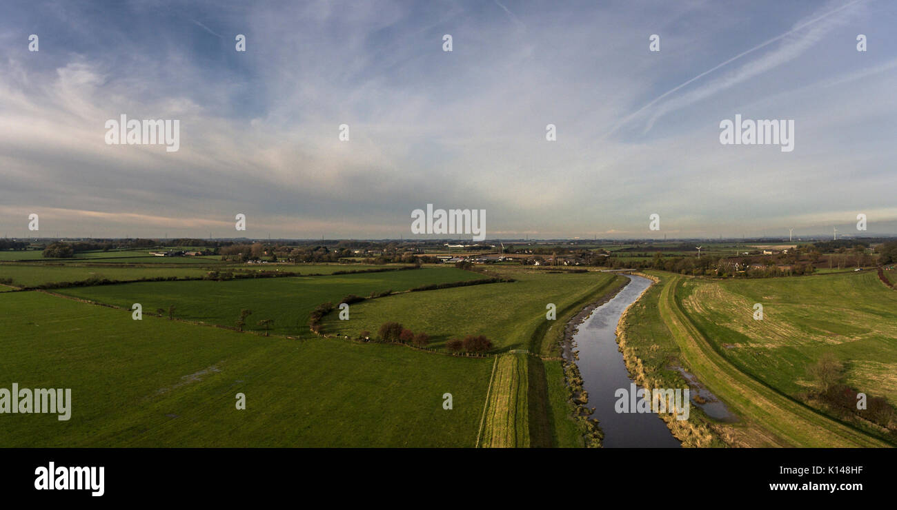 The River Wyre at Great Eccleston by drone - Stock Image