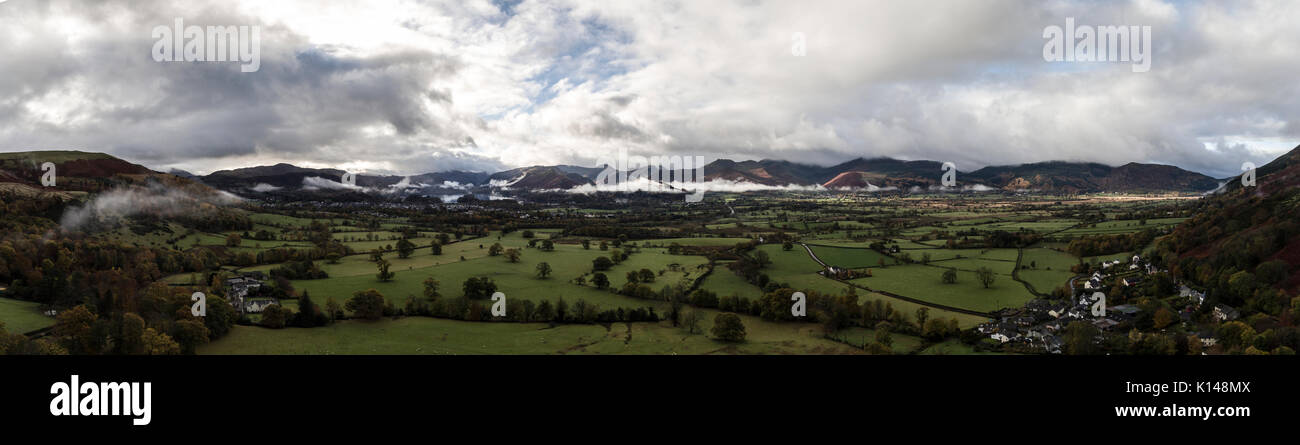 Keswick aerial panorama by drone from applethwaite - Stock Image