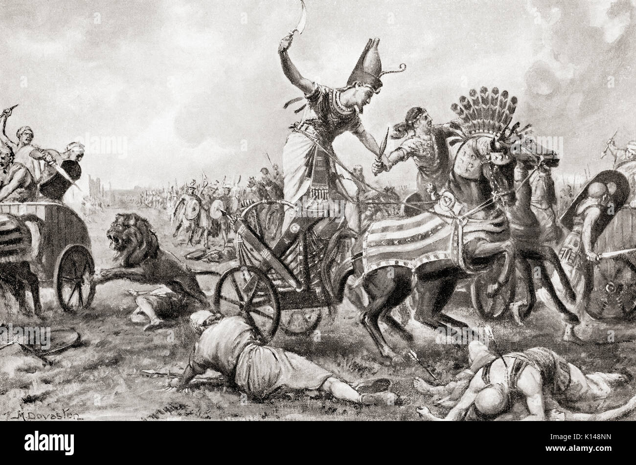 The Battle of Kadesh or Battle of Qadesh fought between the forces of the Egyptian Empire under Ramesses II and Stock Photo