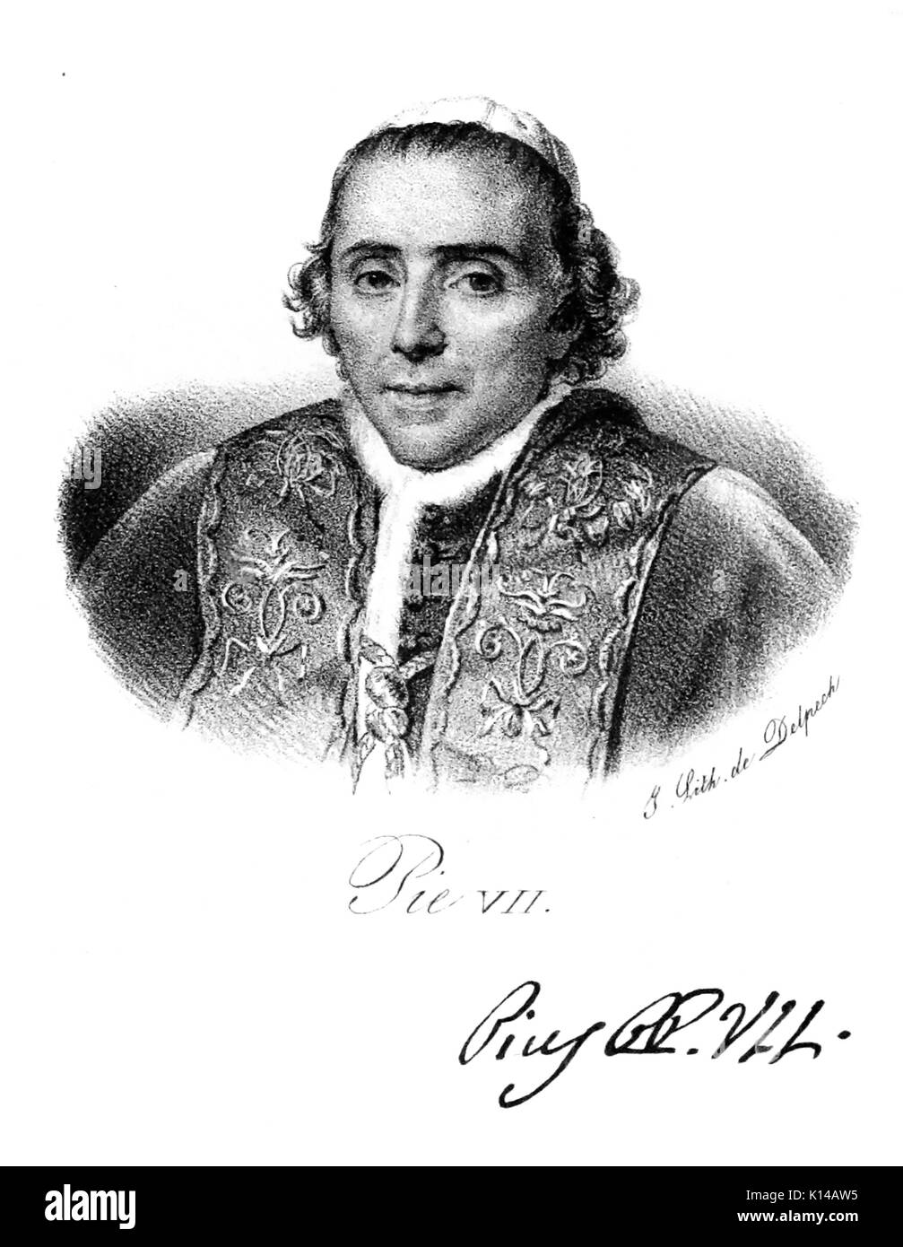 POPE PIUS VII (1742-1823) Engraving with signature based on Jacques-Louis David's 1805 painting - Stock Image