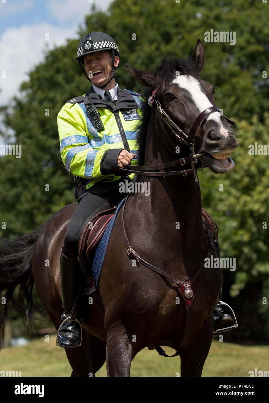 Horse mounted police outside Wimbledon Championships - Stock Image