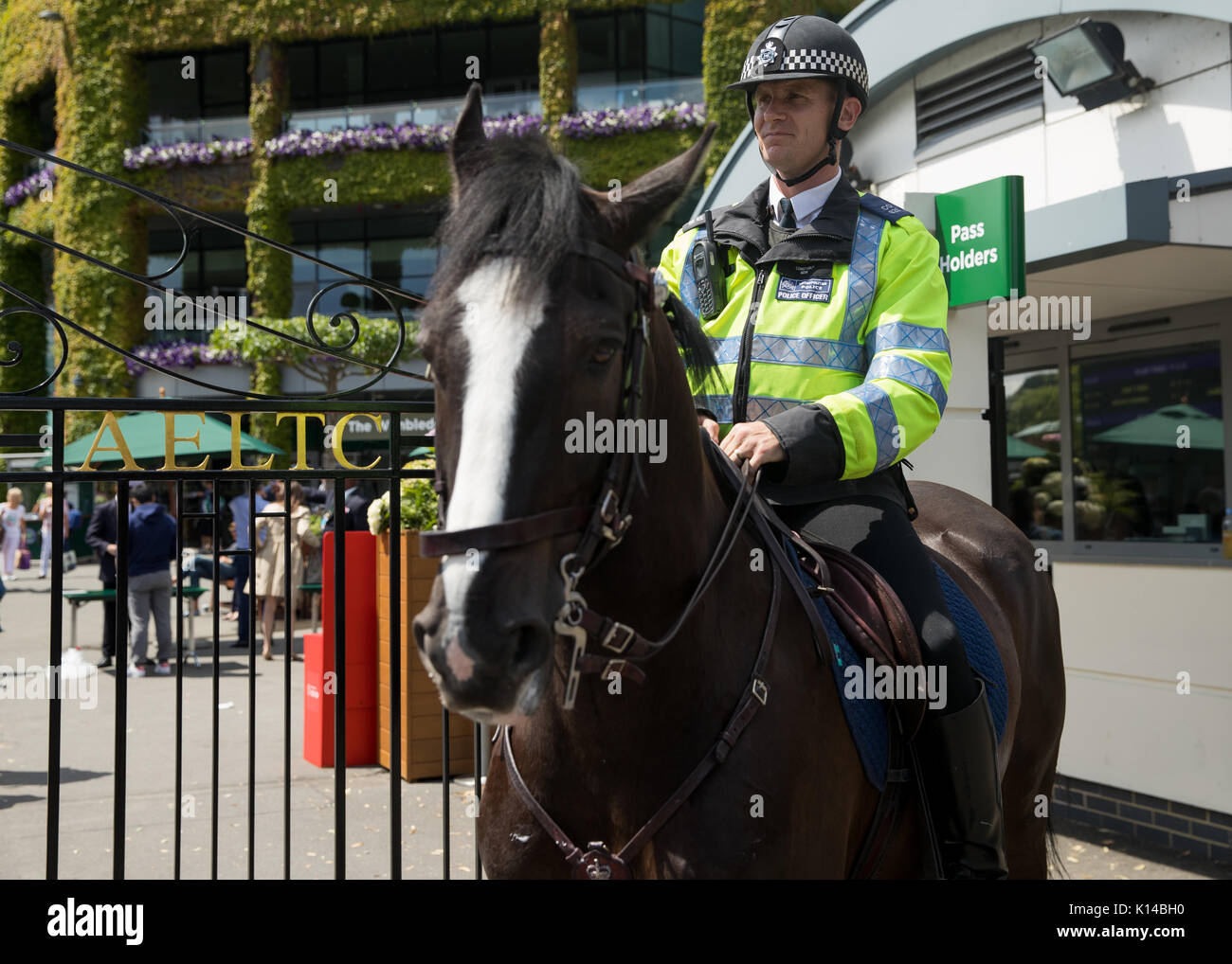 Horse mounted police outside Wimbledon Championships - Stock Image