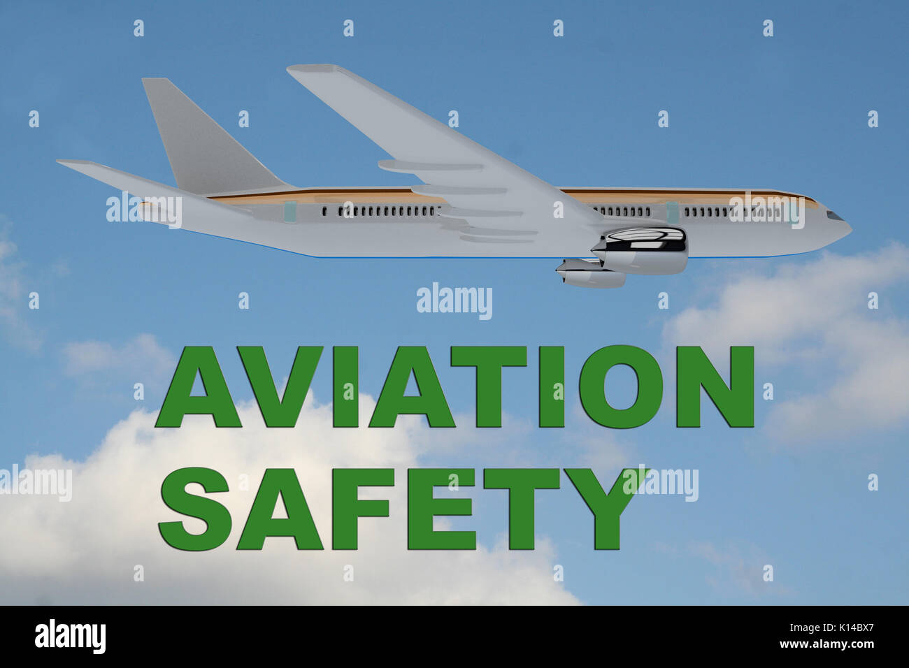 3D illustration of 'AVIATION SAFETY' title on cloudy sky as a background, under an airplane. - Stock Image