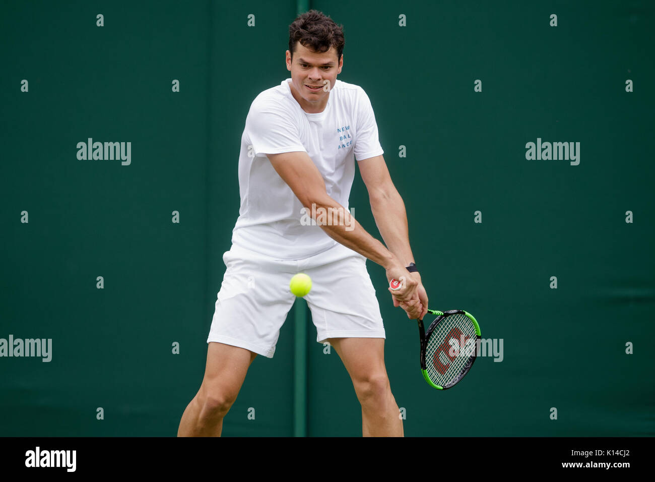 Milos Raonic of Canada during practice at the Wimbledon Championships 2017 - Stock Image
