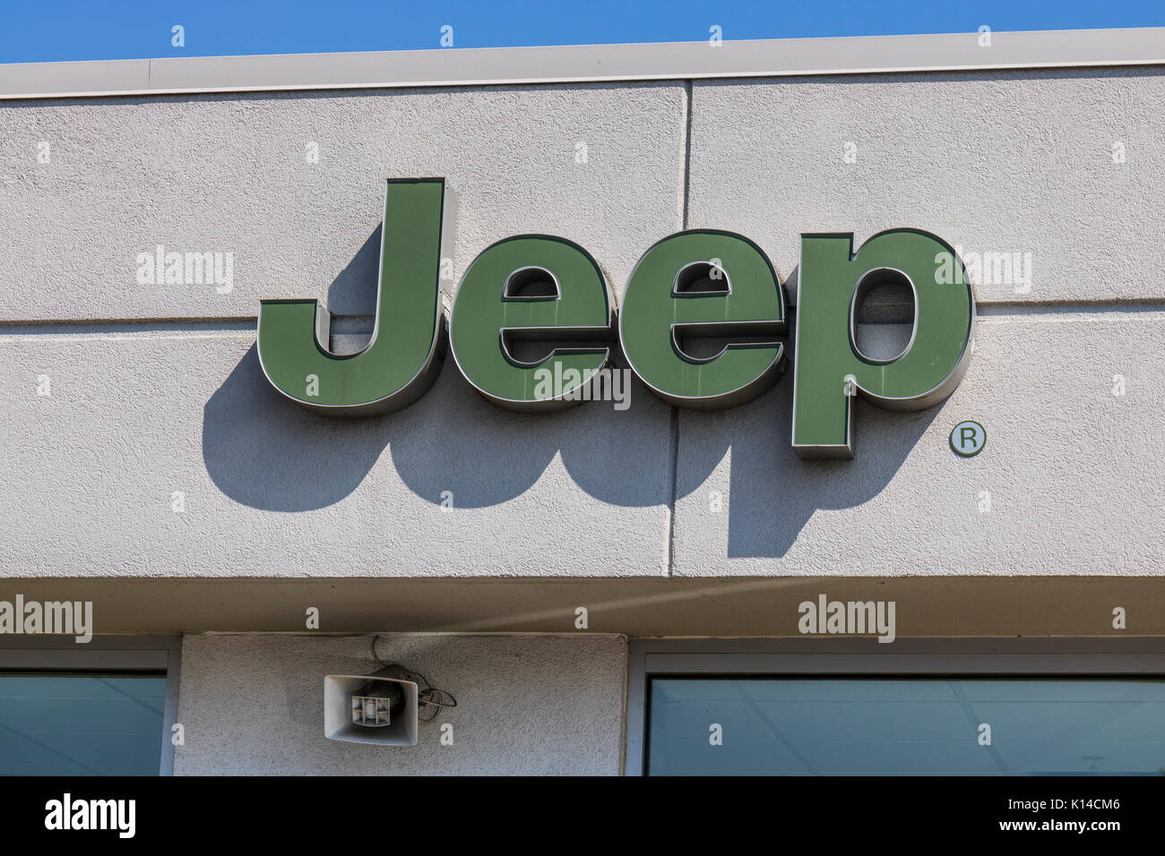 Kokomo - Circa August 2017: Jeep Automobile Dealership. Jeep is a subsidiary of Fiat Chrysler Automobiles. FCA is Stock Photo