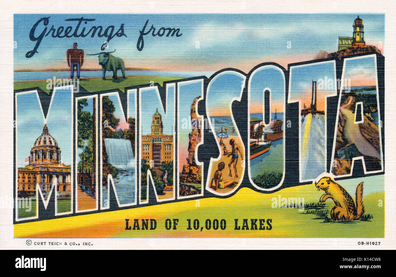 1940 vintage U.S. 'Greetings from Minnesota' postcard. Published by Curt Teich. - Stock Image
