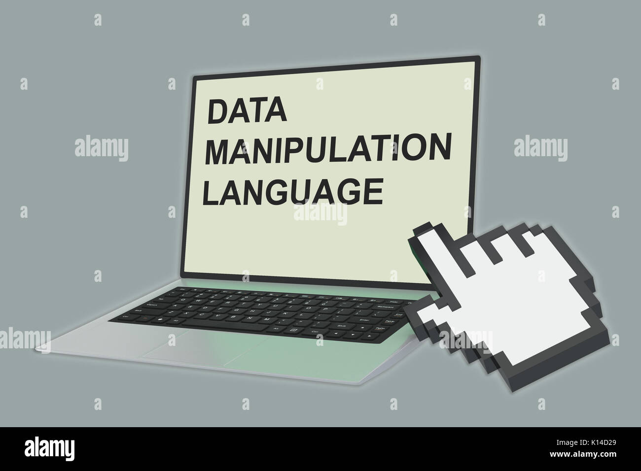 3D illustration of 'DATA MANIPULATION LANGUAGE' script with pointing hand icon pointing at the laptop screen - Stock Image