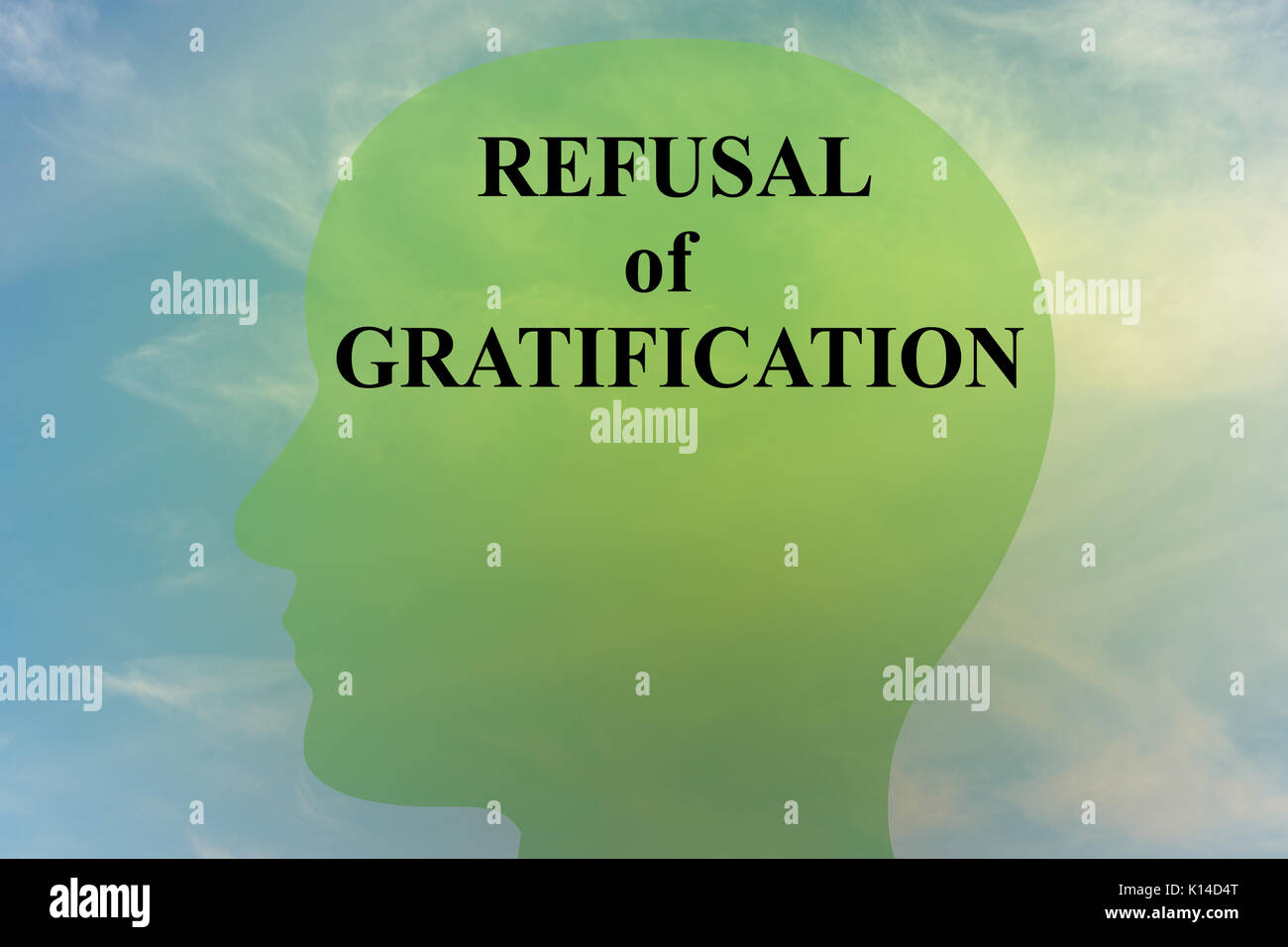 """Render illustration of """"REFUSAL of GRATIFICATION"""" script on head silhouette, with cloudy sky as a background. Stock Photo"""