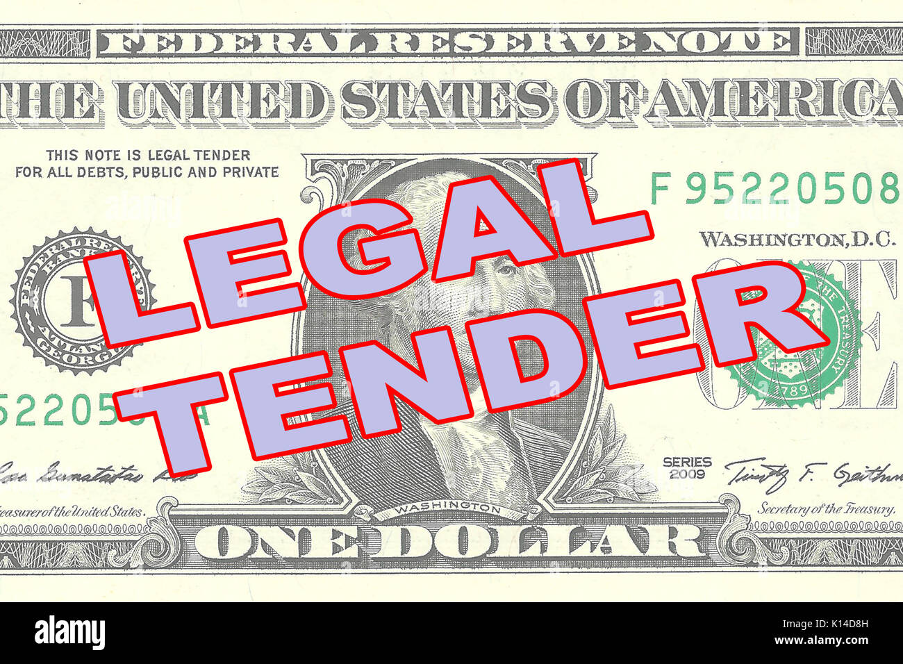 Render illustration of 'LEGAL TENDER' title on One Dollar bill as a background - Stock Image