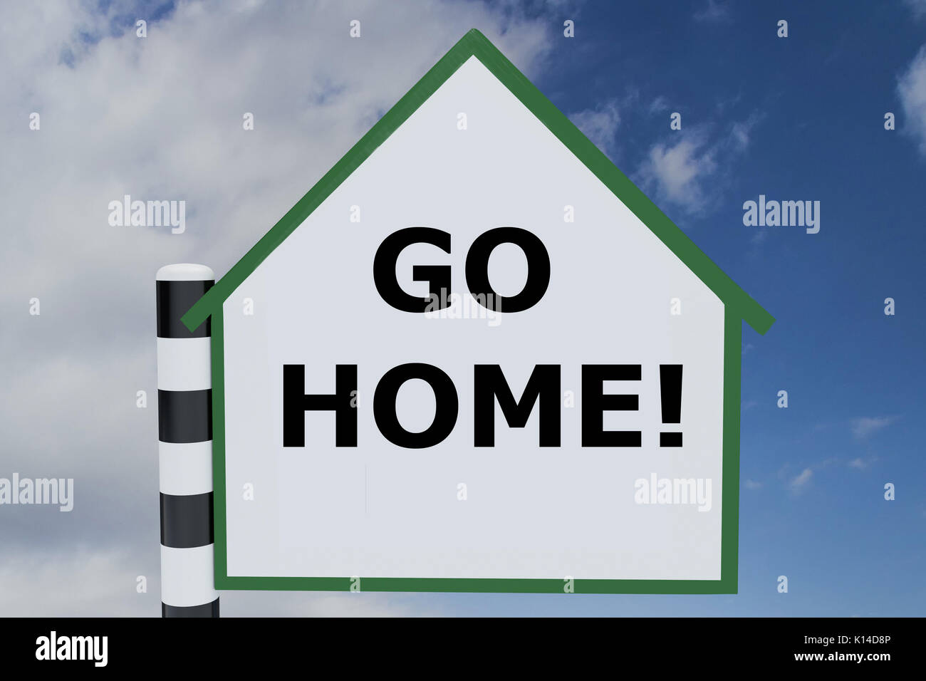 """Canary Government intensifies its """"return home"""" message  3d-illustration-of-go-home!-script-on-road-sign-pointing-upward-K14D8P"""