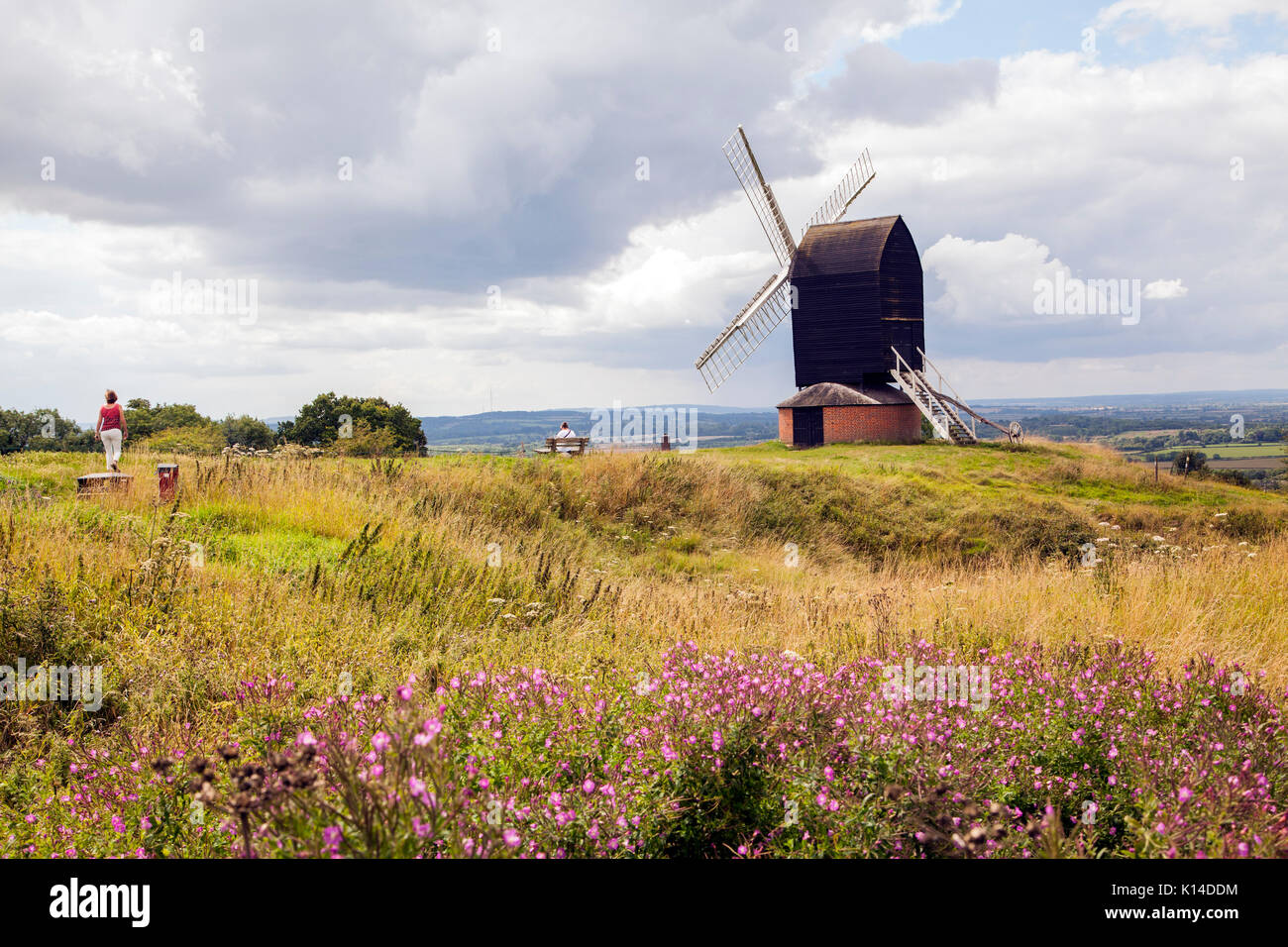 Windmill at Brill in Buckinghamshire  which is a post mill style of  windmill, the earliest  type of windmill in Europe,  a grade II listed building - Stock Image