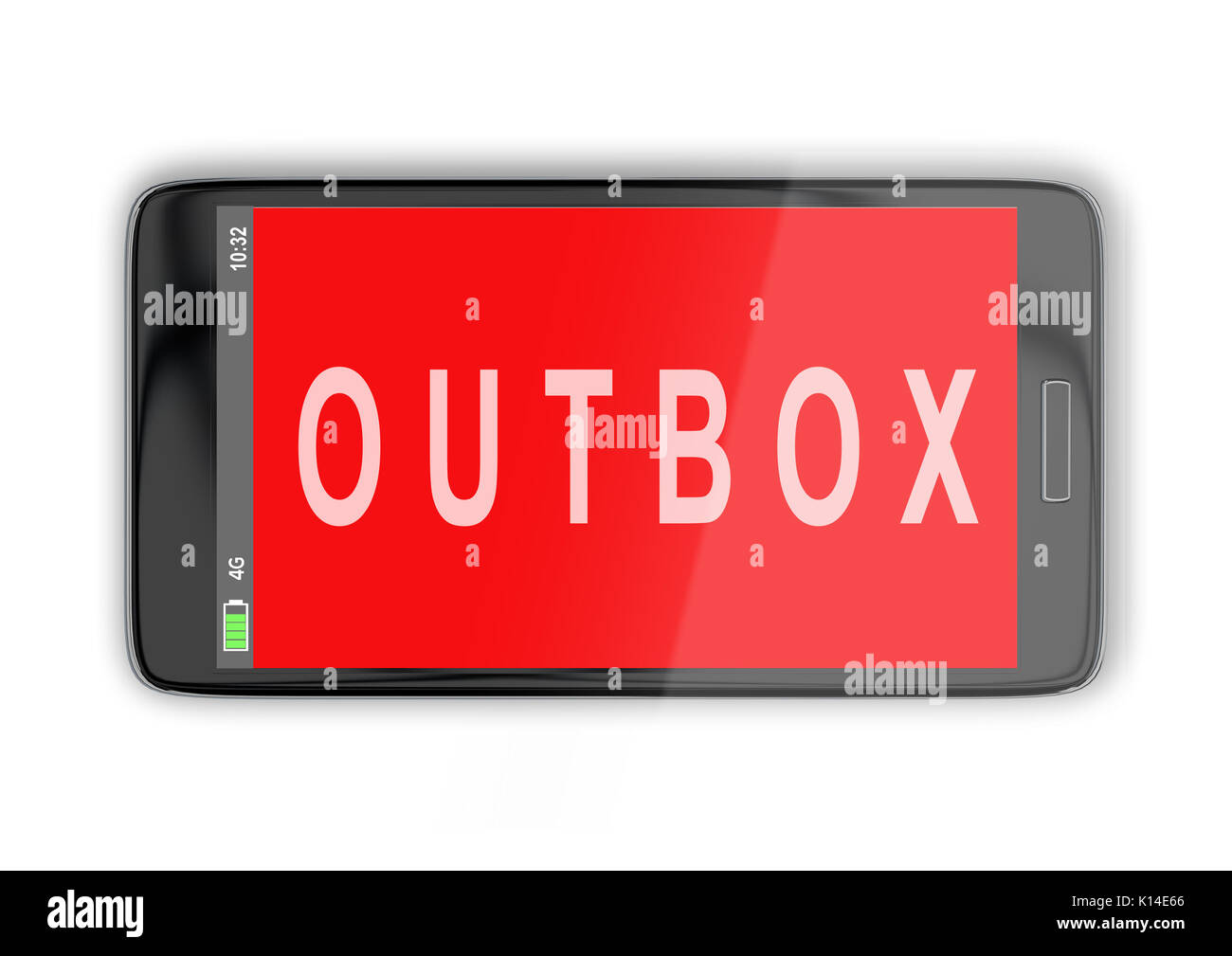 3D illustration of 'OUTBOX' title on cellular screen, isolated on white. Communication concept. - Stock Image